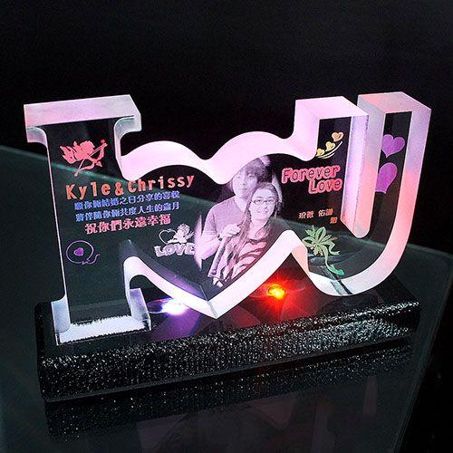 彩色夜燈【IOU愛心切割造型】17X10cm 厚2.5cm 含燈座