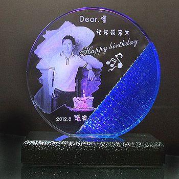 壓克力彩燈【藍圓邊造型】12x12cm 厚2.5cm 含燈
